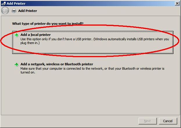 Dodawanie drukarki lokalnej na serwerze Windows 2008