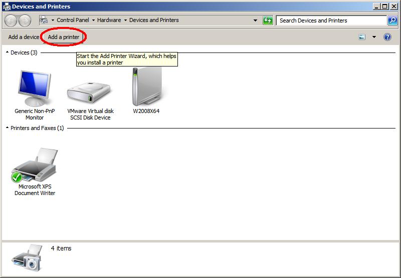 dodawanie drukarki na serwerze Windows