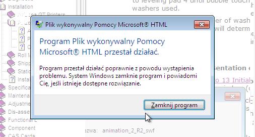Plik wykonywalny pomocy microsoft HTML przestał działać