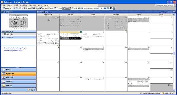 Domyślnie wyświetlane terminy w Outlooku