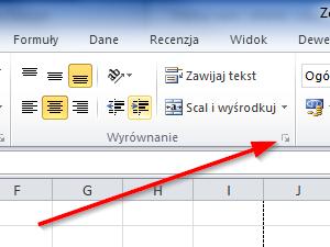 Wszystkie opcje formatowania wyrownania w Excel