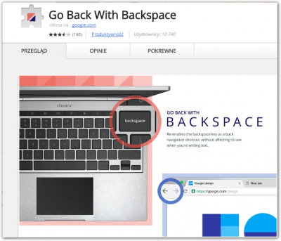 naprawa backspace w google chrome